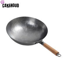 CAKEHOUD Chinese Iron Pot Traditional Manual Hammer Forging Uncoated Cast Wok Gas Stove Non-stick Frying Pan With Two Ears