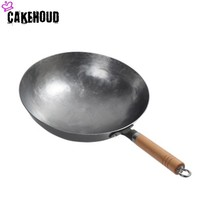 CAKEHOUD Chinese Iron Pot Traditional Manual Hammer Forging Uncoated Cast Iron Wok Gas Stove Non stick Frying Pan With Two Ears