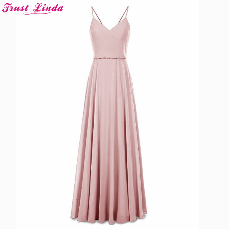 Affordable Wedding Guest Dresses: Charming Long Bridesmaid Dresses Cheap 2018 Spaghetti