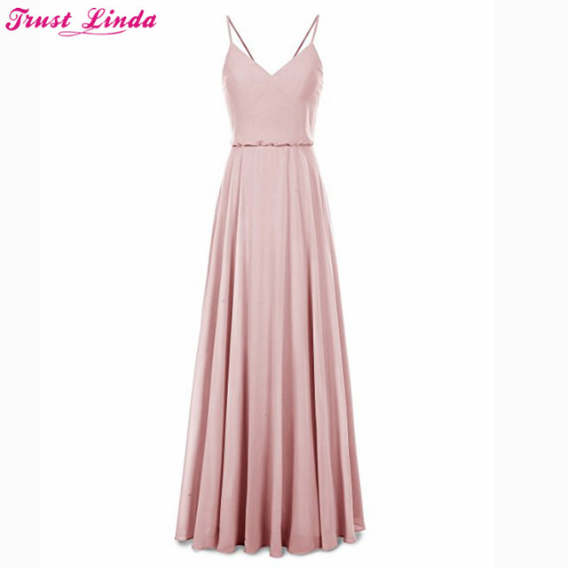 7db05ccbe3b Charming Long Bridesmaid Dresses Cheap 2018 Spaghetti Chiffon Wedding Guest  Dress Simple A-line Bridal Party Gowns Prom Wear