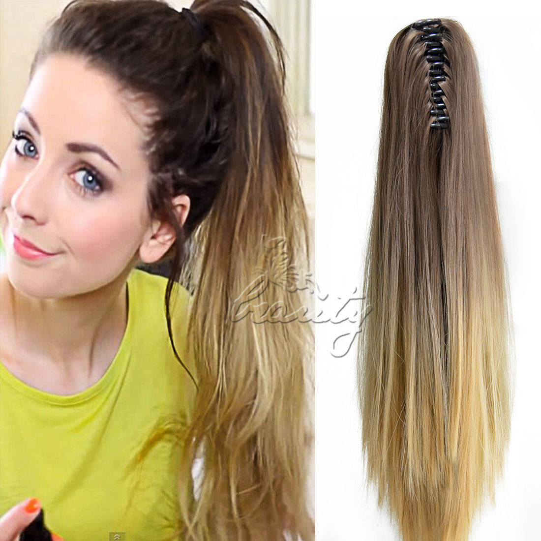 Magnificent 20 Women Pony Tail Ponytail Claw On Hair Extensions Ombre Dip Dye Schematic Wiring Diagrams Phreekkolirunnerswayorg