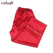S-3XL Home Pants Summer New Faux Silk Pajama Pants Bottom Pajama Ladies Lounge P