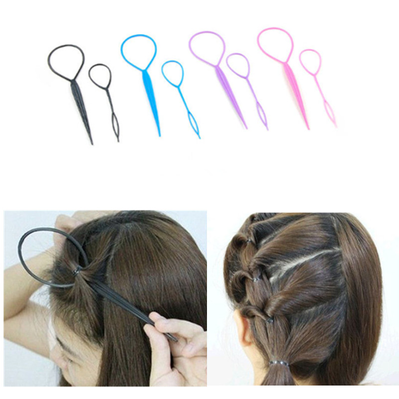=4pcs Smart 2sets Women Girl Ponytail Creator Plastic Loop Styling Tools Black Topsy Pony Tail Hair Braid Maker Styling Tool