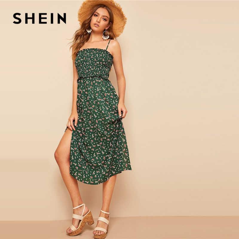 SHEIN Платье На Бретелях С Вырезом И Цветочным Принтом Женское Зеленое Летнее Богемное Платье Без Рукавов