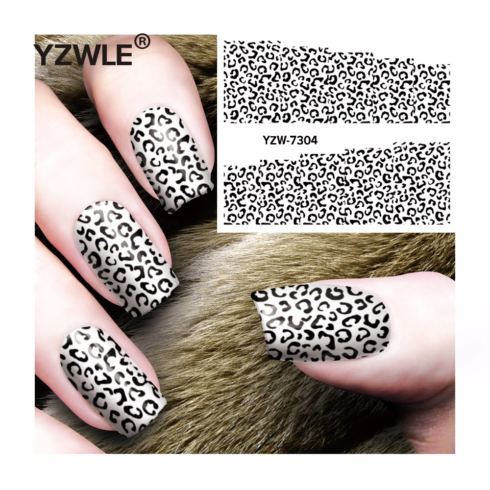 YZWLE 1 Sheet DIY Decals Nails Art Water Transfer Printing Stickers Accessories For Manicure Salon  YZW-7304 yzwle 1 sheet hot gold 3d nail art stickers diy nail decorations decals foils wraps manicure styling tools yzw 6015