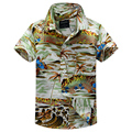 2015 new arrival  cotton 100% floral shirt hawaiian shirt aloha shirt for boy T1519