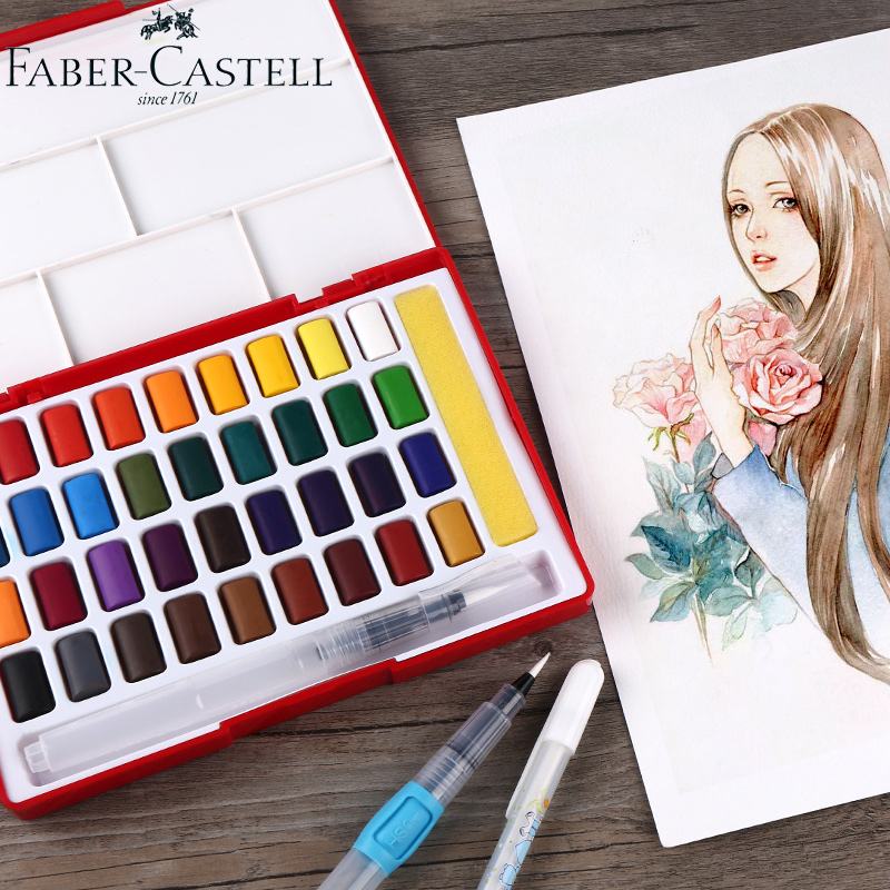 Image 2 - Faber Castell 24/36/48Colors Solid Water Color Paint Set With Paint Brush Portable Watercolor Pigment For Painting Art SuppliesWater Color   -