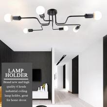Industrial 6 Heads Ceiling Lamp Holder E27 Socket Sturdy Iron Construction Bulb Holder Lamp Base Home Light Fixtures цены