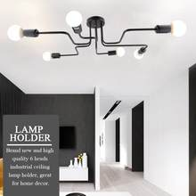 Industrial 6 Heads Ceiling Lamp Holder E27 Socket Sturdy Iron Construction Bulb Holder Lamp Base Home Light Fixtures(China)