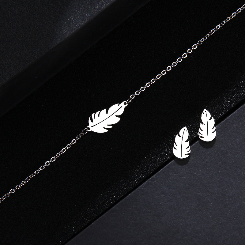 CACANA Stainless Steel Sets For Women Feather Shape Necklace Bracelet Earring Jewelry Lover's Engagement Jewelry S379 6