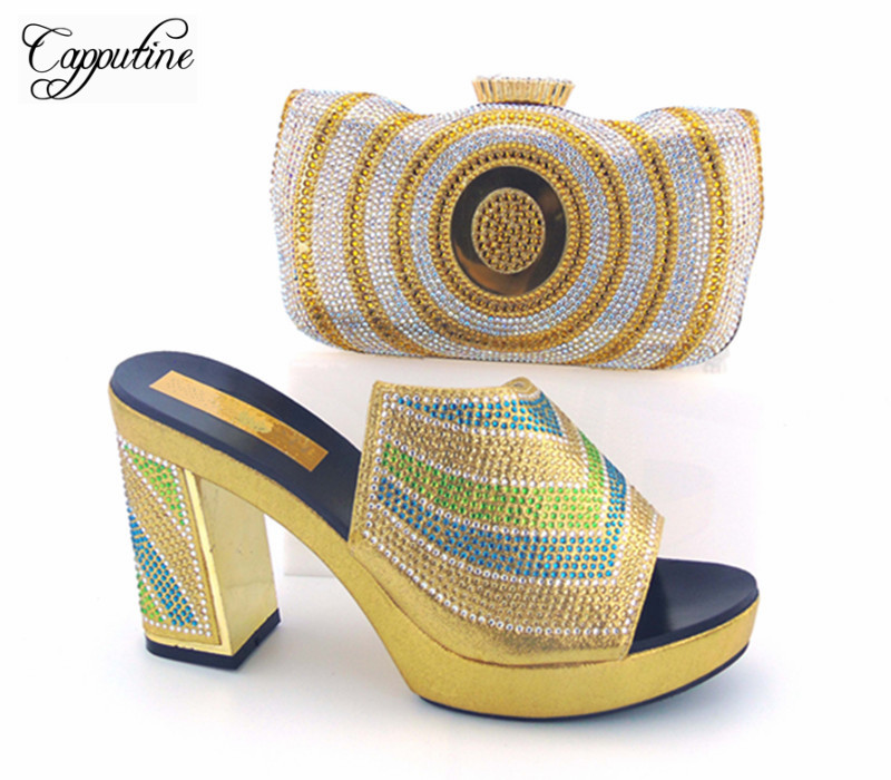 Capputine Hot Selling Woman Shoes And Bag Set For Wedding Party Africa Style Pumps Shoes And Matching Bags Set Wholesale Price hot artist summer style africa woman shoes and bag set hot selling fashion slipper shoes and purse set for party bl425c