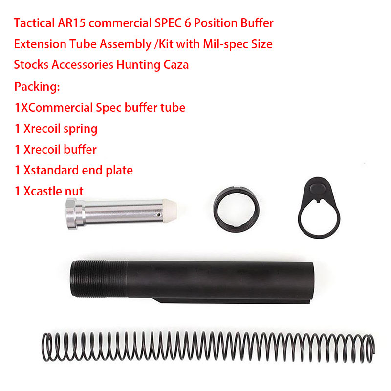 6 Position Stock (5 Items Combo)AR 15 AR15 Mil-spec 6 Position Buffer Tube Assembly /Kit W/ Mil-spec Size Hunting AR-15