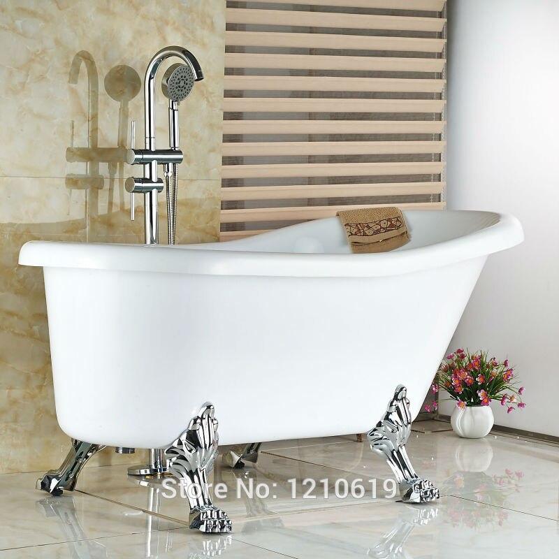 Neu Bodentyp Bthroom Badewanne Wasserhahn Mischbatterie w/Handbrause Chrom-fertiger Badewanne Wasserhahn Dual Griffe