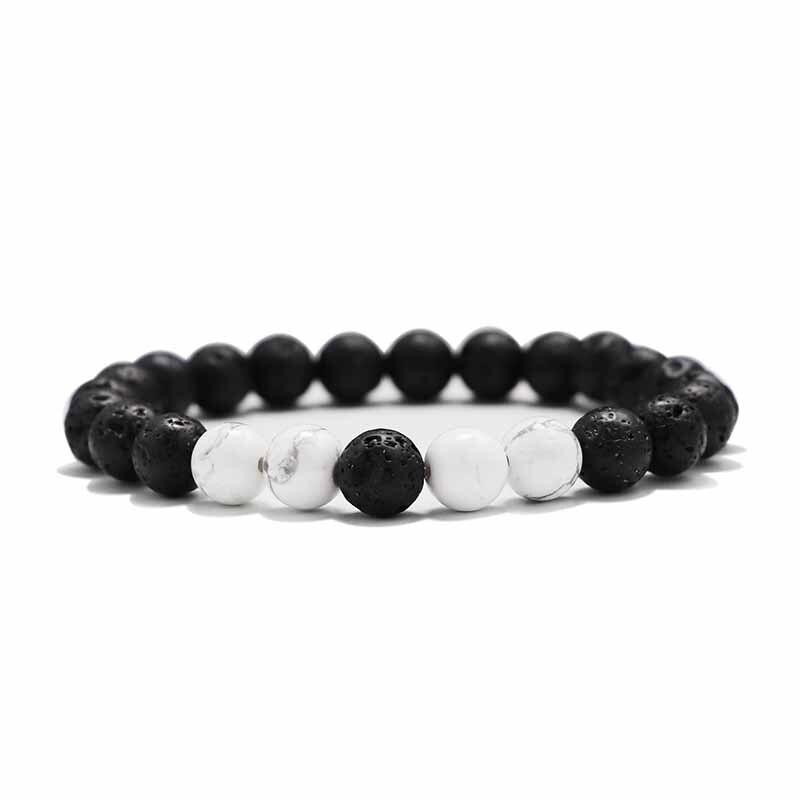 Мужские Браслеты Бусы из лавового Камня Натуральный Камень дерево жемчуг тигровый глаз бренд Модные четки 8 мм браслеты для йоги для женщин ювелирные подарки - Окраска металла: 6