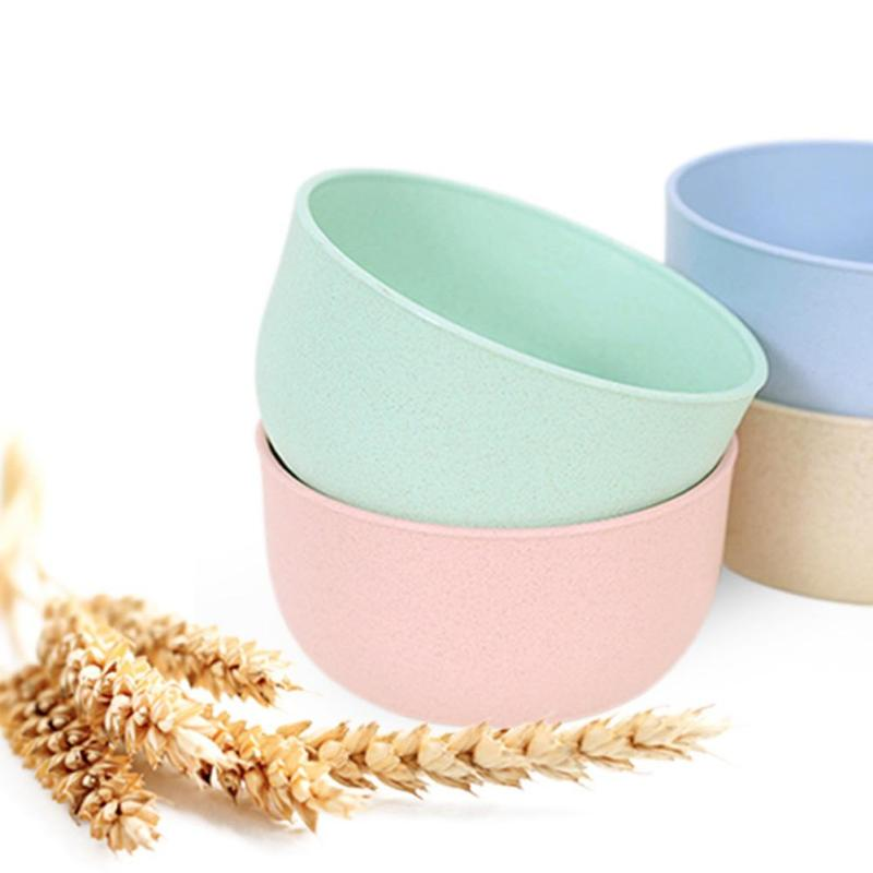 Kids Eco-Friendly Bowl Healthy Wheat Straw Kitchen Plastic Bowls Fast Food Dish Travel Dinnerware Rice Soup Tableware #ET