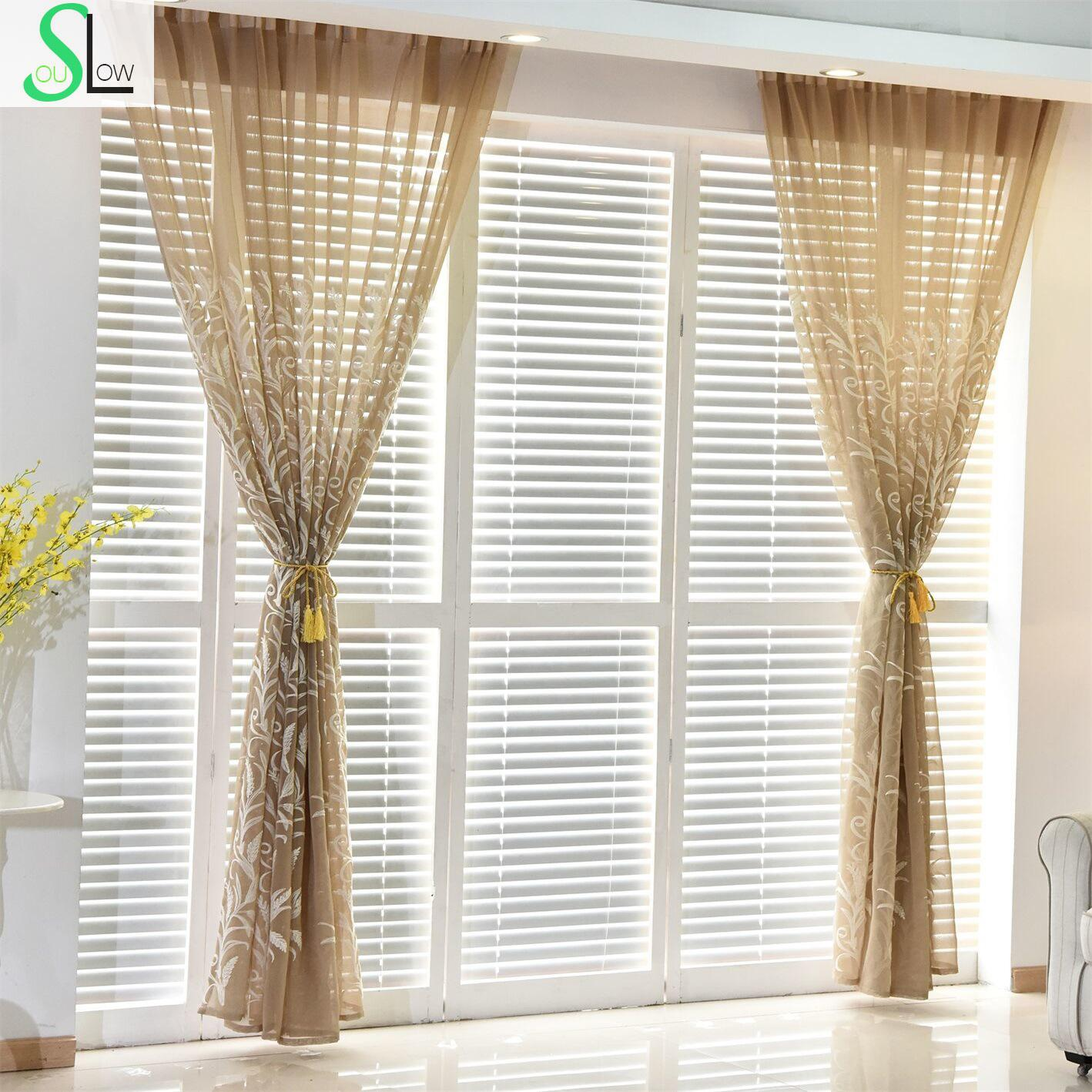 Light yellow curtains - Slow Soul White Blue Light Brown Modern Cotton Curtain Living Room Bedroom Embroidered Tulle Curtains Kitchen And For Sheers