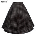 Tonval Womens Vintage Polka Dots Skirts Elegant Summer Womans Saias Girls Femme Retro Midi Swing Pleated Skirts Faldas