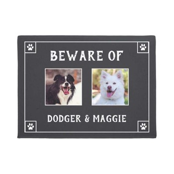 Beware of Dog Names - Two Photos Doormat Home Decoration Entry Non-slip Door Mat Rubber Washable Floor фото