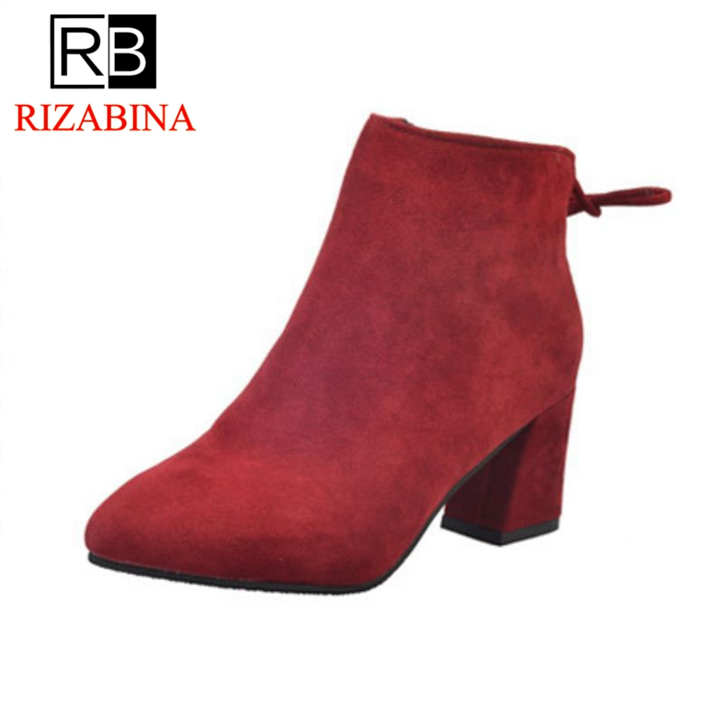 RizaBina Woman High Heel Boots Pointed Toe Zipper Female Ankle Boots Fashion Elegant Short Boots Woman Footwear Size 35-39