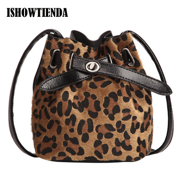 Women Bags Plush Leopard Print Shoulder Bag High Quality Casual Messenger Crossbody Bucket Bag Bolsos girl