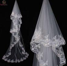White/Ivory 3M Cathedral Veil Elegant Applique Edge Lace Bridal Long Wedding Accessories Women velos de novia Princess 2019