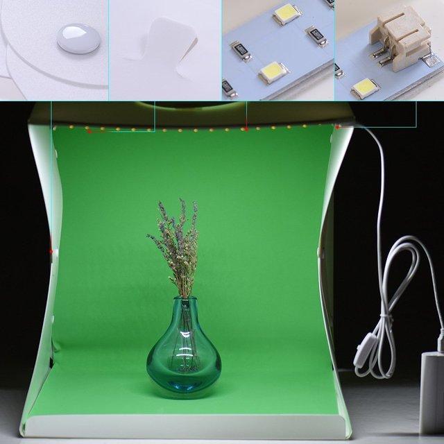 2 LED Folding Lightbox 40*40 Portable Photography Photo Studio Softbox Background Kit  Light Box For DSLR Camera 4