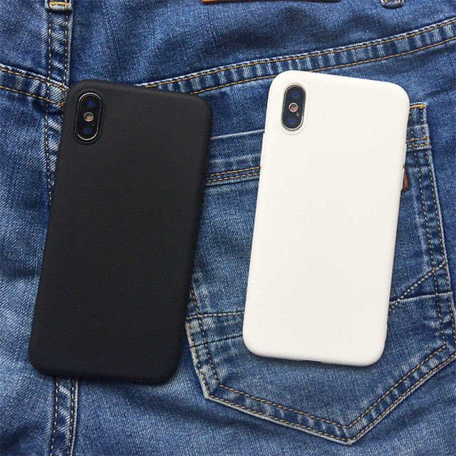 White Black Matte Coque For iPhone 12 11 Pro Xs Max XR X 5 5S SE 2020 6 6S 7 8 Plus TPU Back Cover For iPhone 7 Plus Phone Case