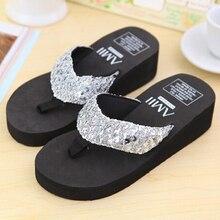 New slippers female beach sandals for women Rhinestone Crystal wedges platform elevator slip-resistant paillette 5 colors