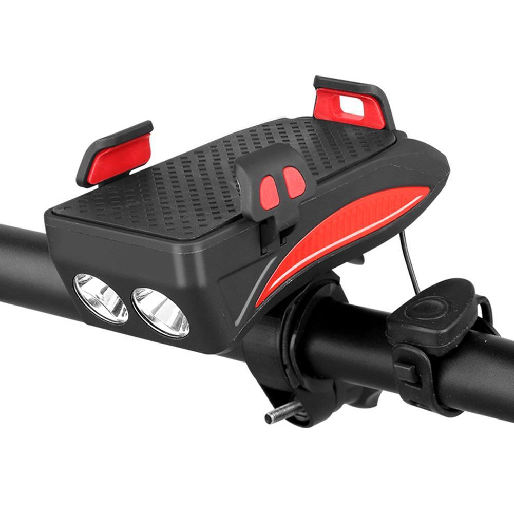 2000mAh Multi-functional Bicycle Light Mobile Phone Holder Riding Headlight Horn 400 Lumens LED Bike Lamp Cycle FlashLight