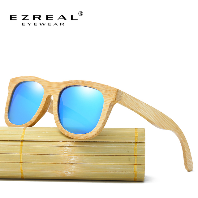EZREAL Wooden Sunglasses Polarized Bamboo brand sun glasses Vintage Wood Case Beach Sunglasses for Driving gafas de sol