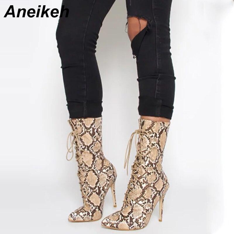 Aneikeh Femmes Cheville Printemps/Automne Bottes Motif Peau de Serpent Bout Pointu Dentelle Up Mince Haute Talons Chaussures Sexy Mode Chelsea bottes
