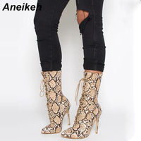 Aneikeh Women Ankle Spring/Autumn Boots Snakeskin Pattern Pointed Toe Lace Up Thin High Heels Shoes Sexy Fashion Chelsea Boots