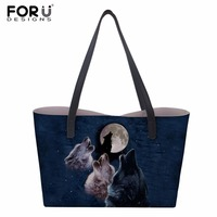 FORUDESIGNS DIY Customizer Women Shoulder bag Snow Wolf series Printing Bag Trapeze bag handbag Casual Tote Handbag 38*33cm
