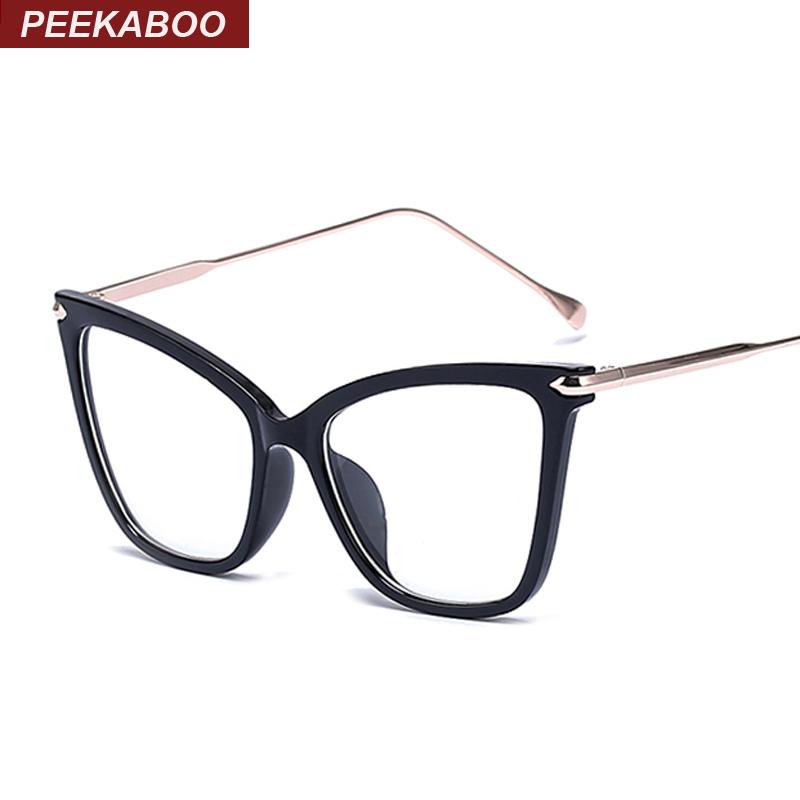 Peekaboo Black Sexy Mode Eyewear Cat Eye Designer Marke Luxus große Brillen Cat Eye Frames für Frauen weibliches Gold