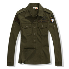 Women New Army Green Blouses Spring Long Sleeve Military Shirts Girl's Casual Tops Clothing