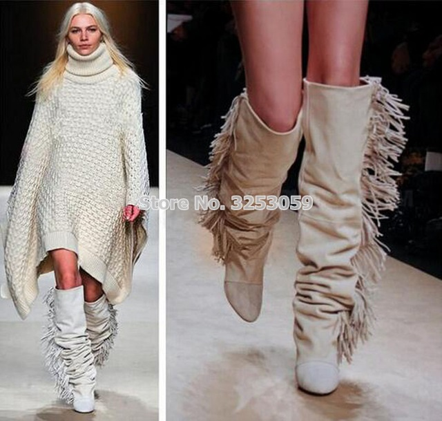 Women Knee High Suede Fringe Boots Black/White/Gray Wedged Tall Boots New Brand Fashion Women Motorcycle Tassel Boots Dropship stylish women s knee high boots with tassel and black design