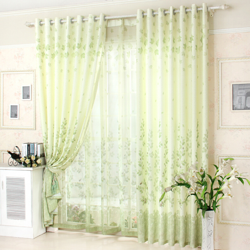 Buy rustic style green leaves cortinas for Cortinas black out