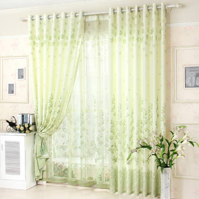 Aliexpress Com Buy Kitchen Short Curtains Window: Aliexpress.com : Buy Rustic Style Green Leaves Cortinas Blackout Cloth Curtains Sheer Drapes