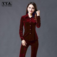 2016 Spring Fall Womens Velvet Single Button Shirts Slim Fit Long Sleeve Casual Tees Tops Warm