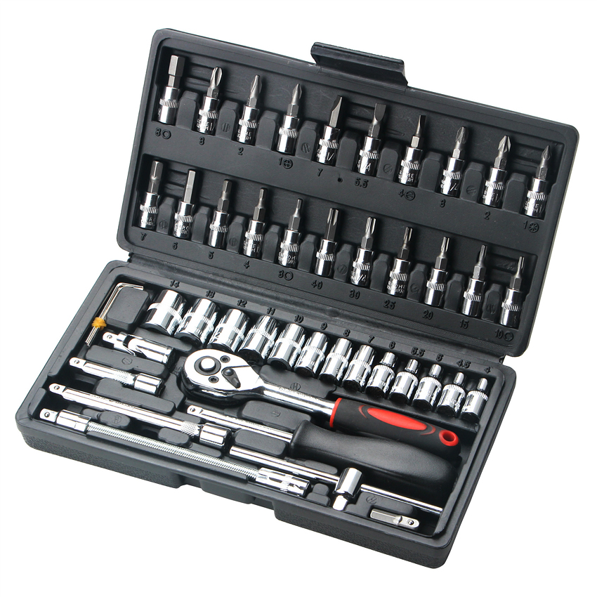 46pcs Combination Tool Set 1/4 Ratchet Wrench Socket Kit With Plastic Toolbox Spanner Screwdriver Household Car Repair Tool Set