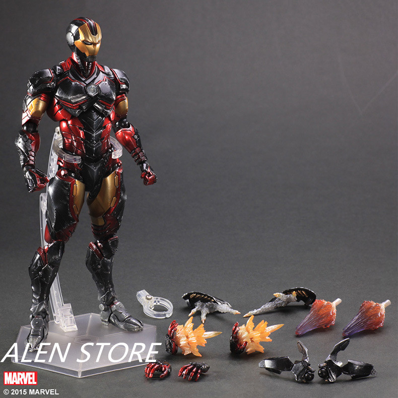 ALEN Anime Movie Avengers Iron Man Action Figure Playarts Kai figurine hot boys Toys Collection Model Play arts Kai dolls 4pcs black led front fender flares turn signal light car led side marker lamp for jeep wrangler jk 2007 2015 amber accessories