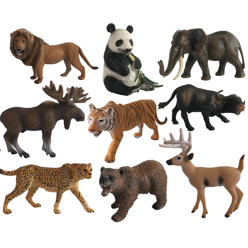 Plastic Zoo Animal Figure Gorillas African Cheetah Antelope Kids Toy Lovely Animal Model Toys Gift For Kids lps pet shop toys rare black little cat blue eyes animal models patrulla canina action figures kids toys gift cat free shipping