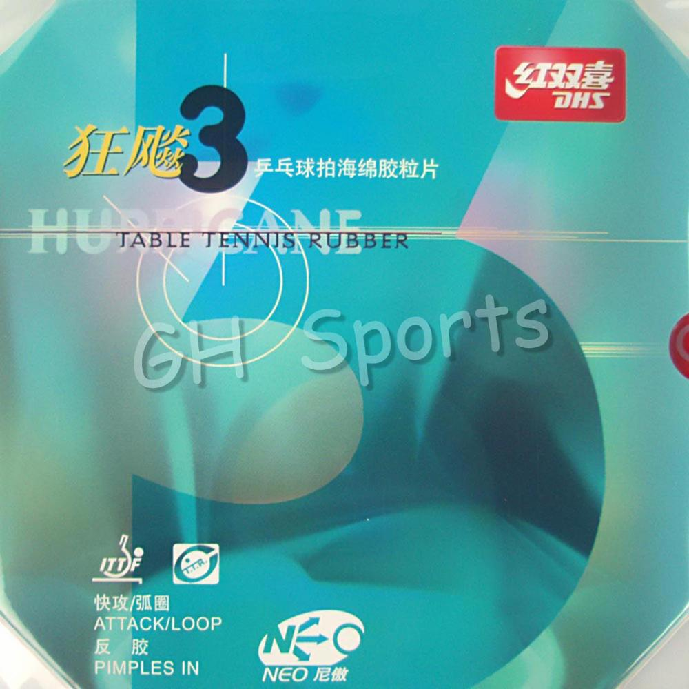 DHS NEO Hurricane 3 Attack Loop Pips-In Table Tennis PingPong Rubber With Sponge dhs skyline tg3 tg 3 tg 3 pips in table tennis pingpong rubber with sponge