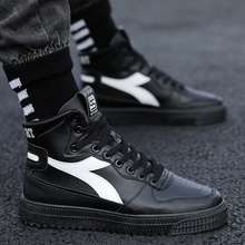 New Spring Men Shoes Trainers Leather Fashion Casual High Top Sport Walking Lace Up Ankle Boots for Men White H5 недорго, оригинальная цена