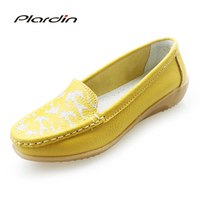 plardin New 2017 Women Totem genuine Leather Shoes Slip on women Flats Comfort shoes woman moccasins Spring summer wedges shoes