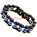 Handsome Men's Stainless Steel White Blue Black Motorcycle Chain Bracelet Bangle Cuff Wrisrband Jewelry 21.5cm*21mm Fashion 149g