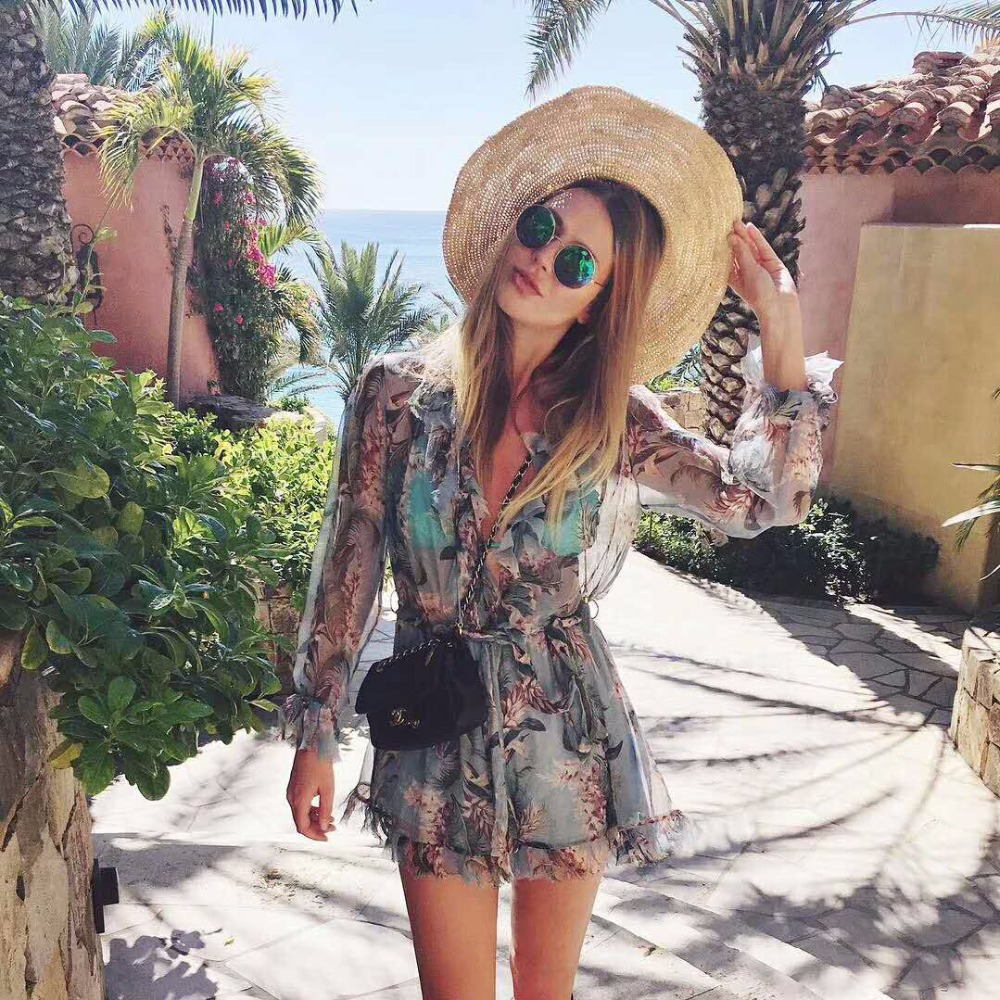 Women Tropicale Floral Silk Playsuit Ruffles Romper