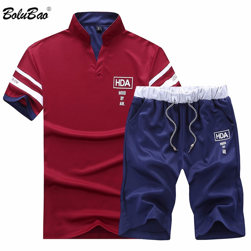 BOLUBAO 2019 Summer Men's Tracksuit Clothing Short Sleeve Shorts 2 Pieces Printed