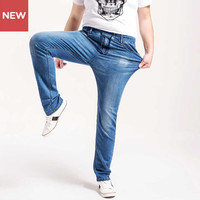 New Plus Size L 6XL Thin Light Blue Denim Pants High Waist Stretch Waist Trousers 2017