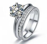 Люкс 3 карат NSCD синтетические со стразами Свадебные кольца обручальные кольца свадебный комплект наборы обручальных колец для женщин Анель